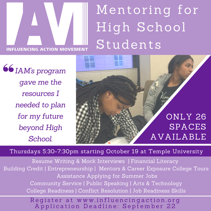 Apply Now: IAM Mentoring for High School Students 2017-2018